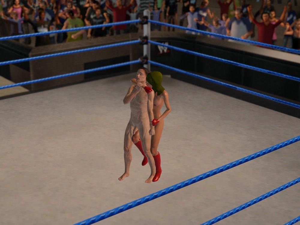 صور امرأة محجبة تضرب رجل بعنف في حلبة المصارعة